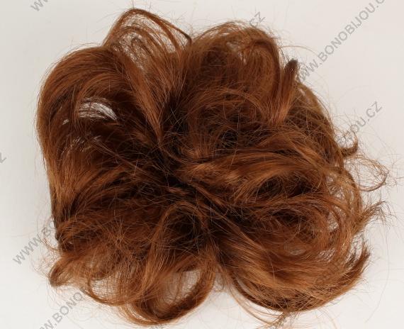 Gumička do vlasů s příčeskem - hnědá 8fc2062127