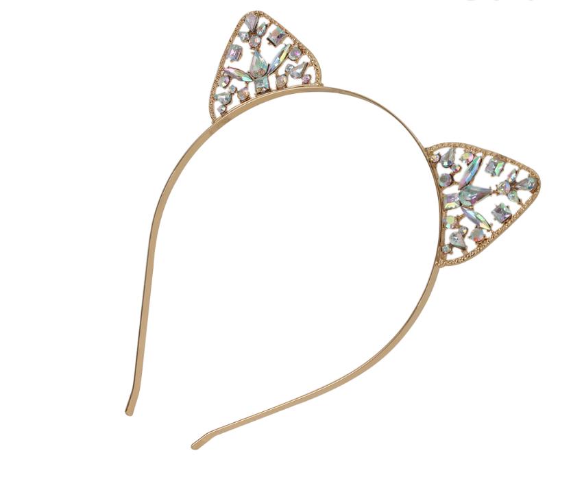 Čelenka kočičí uši zlatá s krystalky 42672f646b